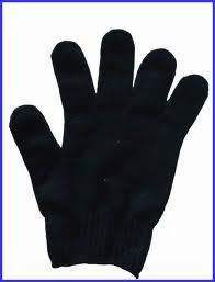 PLAIN BLACK KNITTED GLOVES