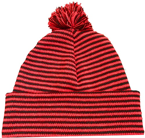 KNITTED STRIPED ALPINE BEANIE